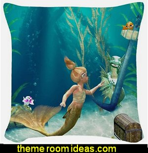 mermaid throw pillows underwater bedroom ideas - under the sea theme bedrooms - mermaid theme bedrooms - sea life bedrooms - Little mermaid princess Ariel - Sponge Bob theme bedrooms - mermaid bedding - Disney's little mermaid - clamshell bed - mermaid murals - mermaid wall decal stickers -