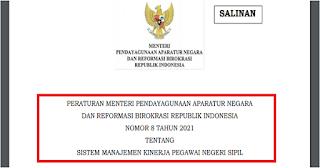 Surat Edaran Menteri PAN RB Nomor 8 Tahun 2021 Tentang Sistem Menejemen Kinerja PNS