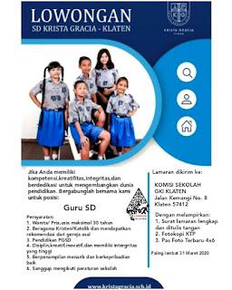 Lowongan Kerja Klaten Guru SD Krista Gracia Klaten Februari 2020
