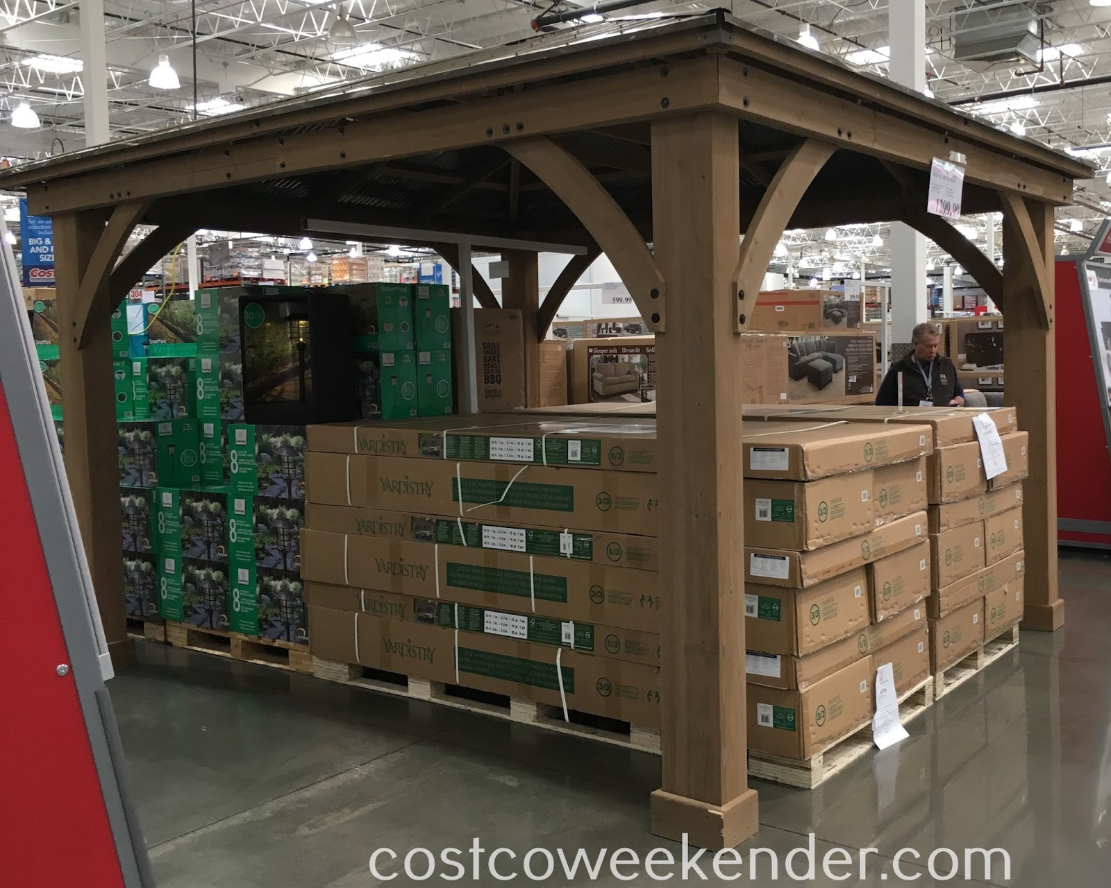 Yardistry 12' x 14' Cedar Wood Gazebo with Aluminum Roof | Costco Weekender
