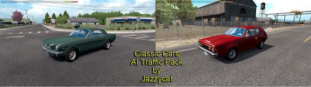 ats classic cars ai traffic pack v3.1 screenshots 1, Ford Mustang '65, AMC Gremlin '73
