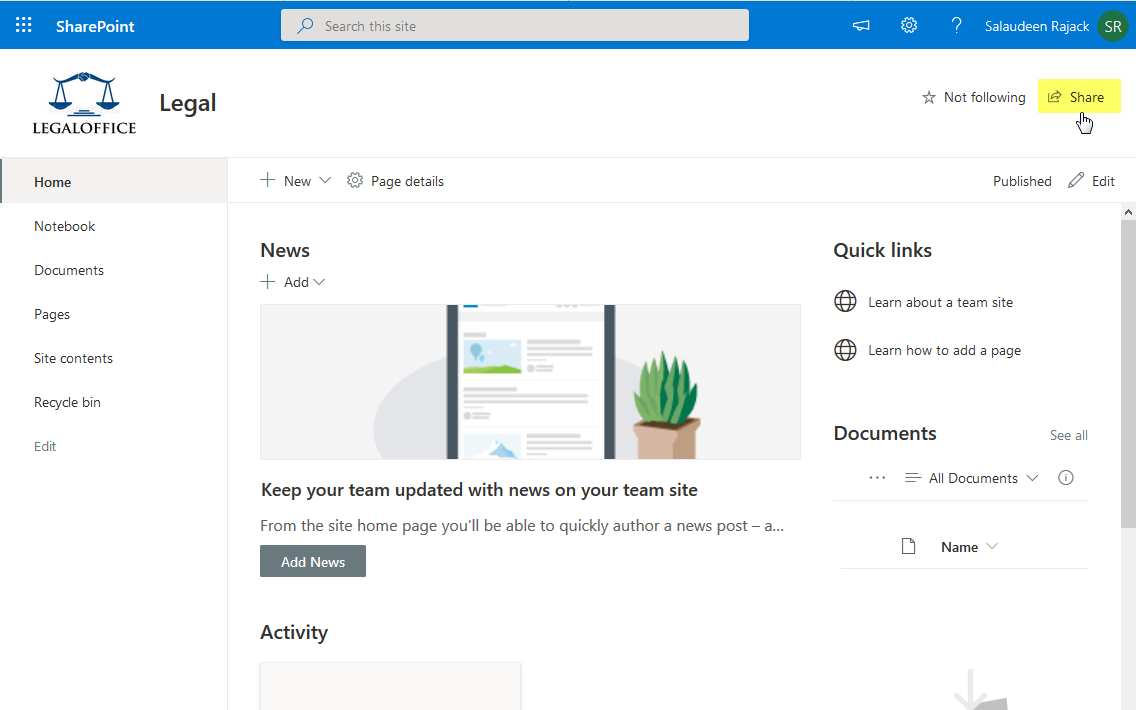 how to share a sharepoint online site with external users