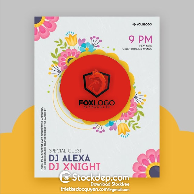 Electro Spring Party Flyer Mockup PSD Template stock free