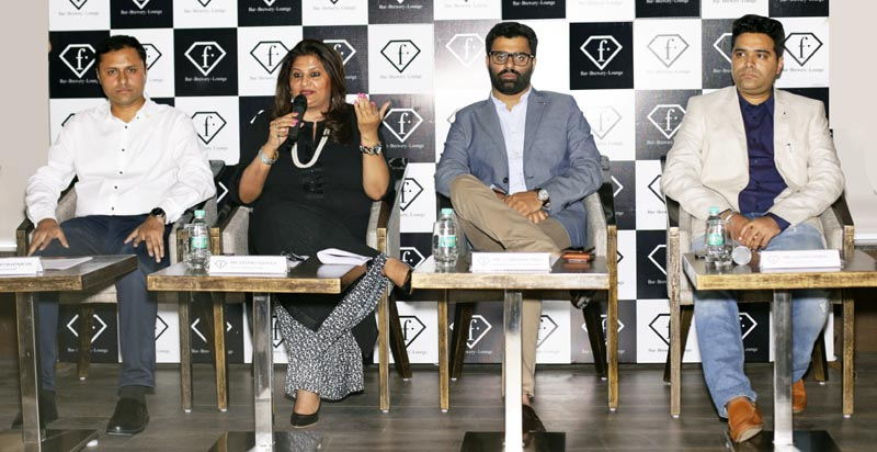Deepali Narula, Director – Marketing and Events, Trinity (Second from left) talking to media persons during F Bar.Brewery.Lounge launch at Pavilion Mall in Ludhiana today