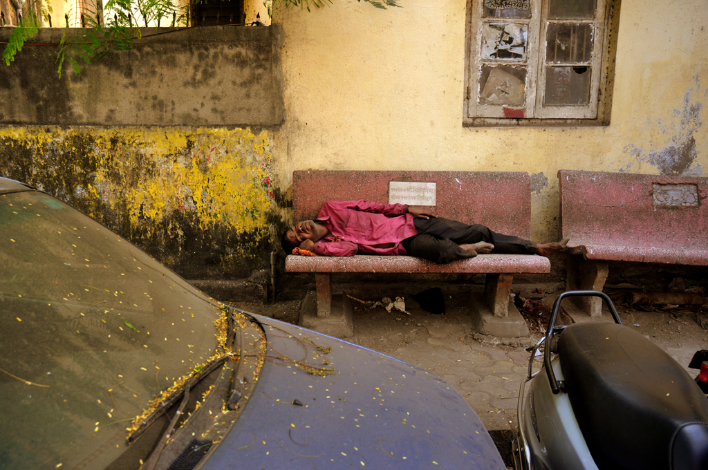 Man on a bench in India submitted to the 'International Photography Awards'.