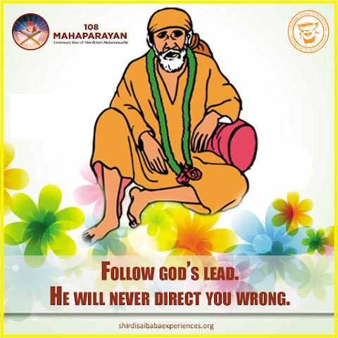 Follow God's Lead - Sai Baba Dwarkamai Pose Painting Image