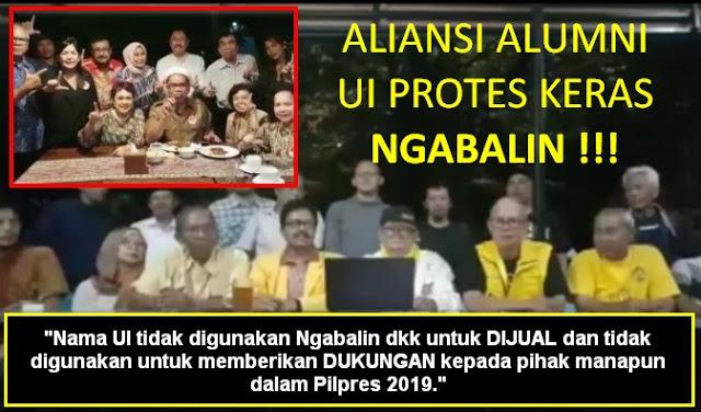 Video Aliansi Alumni UI Protes Keras Ngabalin: Nama UI Tidak Untuk Dijual Demi Kepentingan Pilpres 2019