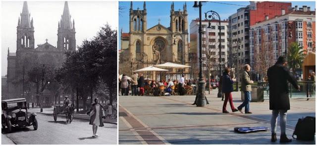 Paseo Begoña de Gijón e Iglesia San Lorenzo Preguerra y actualidad