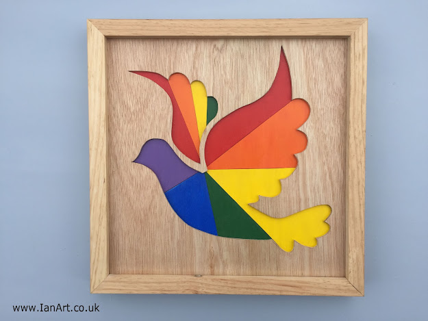 Dove Raindow wooden wall art