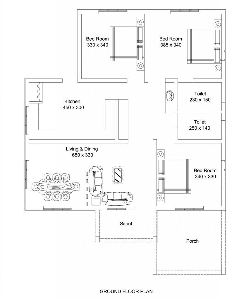 Beautiful low cost 3 bedroom home plan in 1309 sqft free for House plan designs