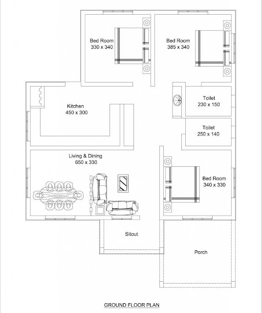 Beautiful Low Cost 3 Bedroom Home Plan In 1309 Sqft Free Kerala Home Plans
