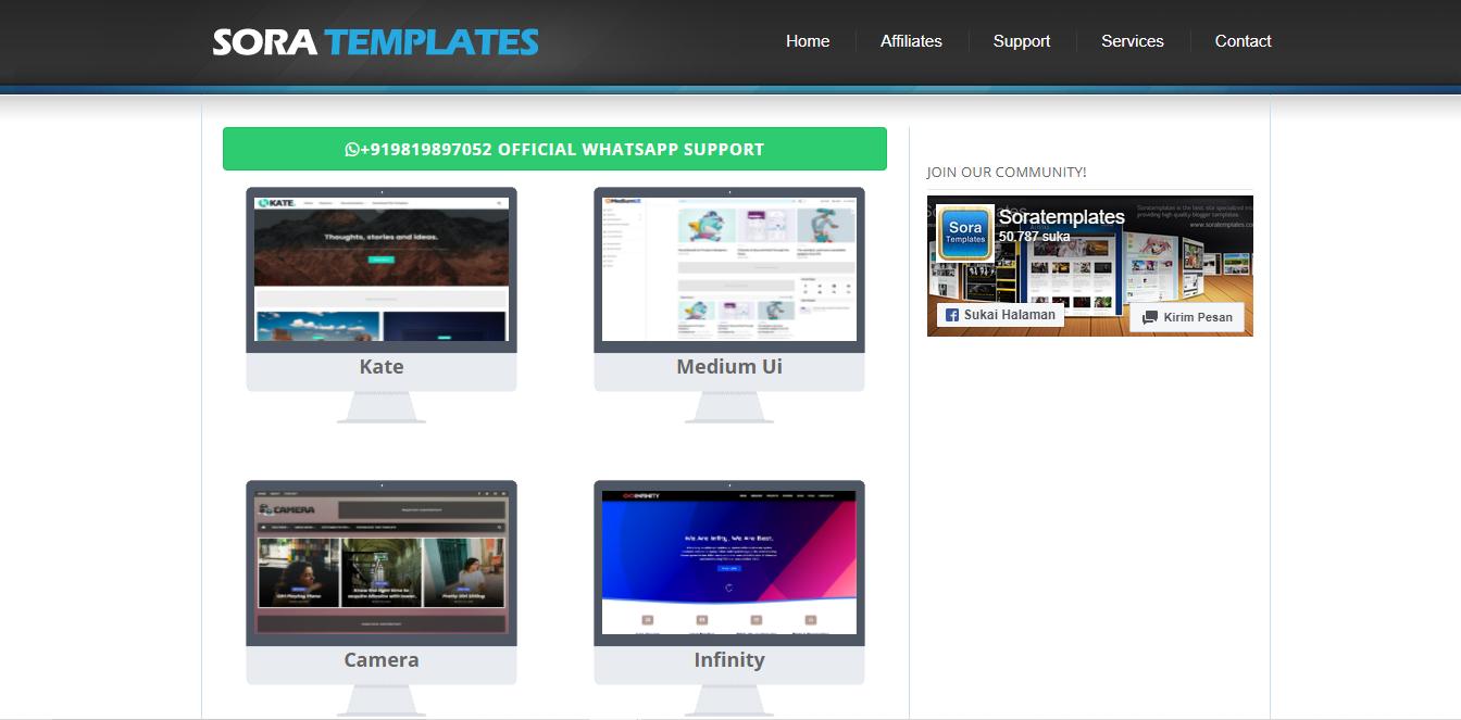 Soratemplates-  Situs Rekomendasi Download Template Blogger Premium dan Gratis