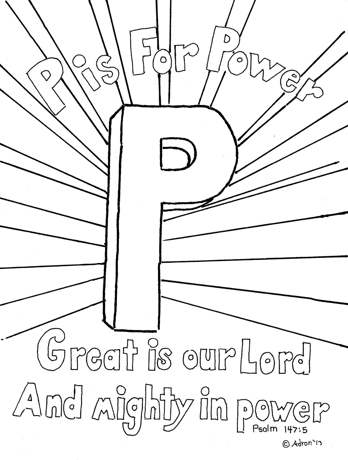 Coloring Pages For Kids By Mr Adron P Is For Power