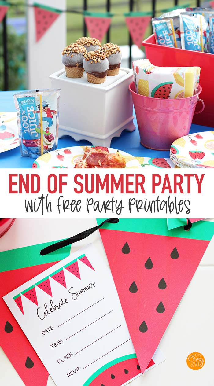 Host a fun end of summer party with free printables! Includes watermelon party invitations and a watermelon party banner. Super easy ways to celebrate the end of summer with friends and family! #ad #summer #party #printables