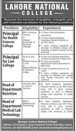 Job Opportunities Lahore National College Lahore