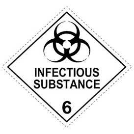 hazmat class 6, division 6.2 ,Infectious Substances placard