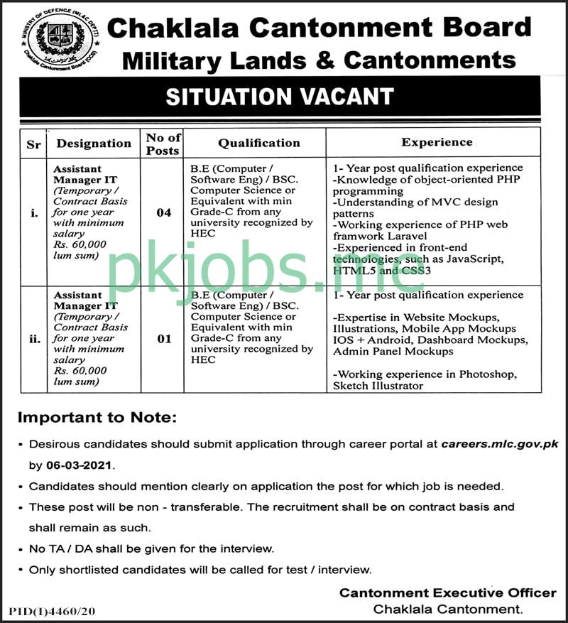 Latest Military Lands & Cantonments Department Posts 2021