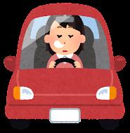 運転している女性のイラスト(寝る)
