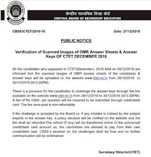 CTET December 2018 Answer key notice