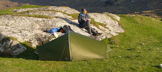 Tent pitched near the dunes on Barra for the first night