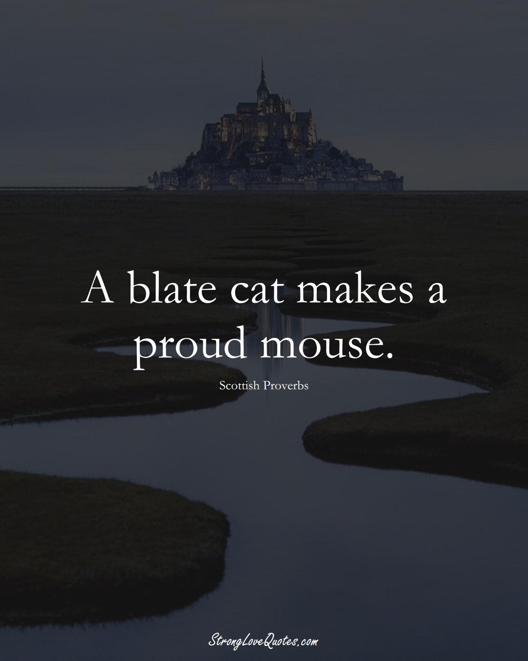A blate cat makes a proud mouse. (Scottish Sayings);  #EuropeanSayings