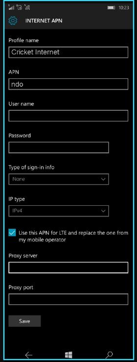 Cricket apn settings for windows phone