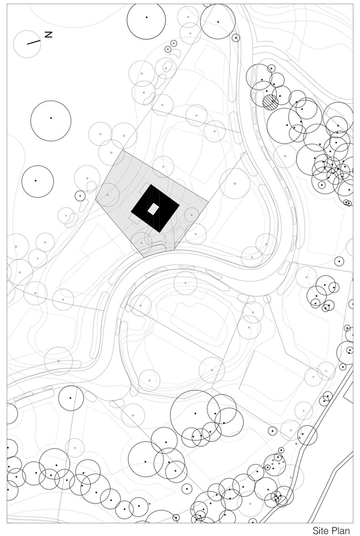 Site plan of Modern Villa V by Paul de Ruiter Architects