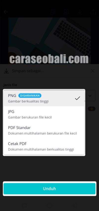 pilih format gambar yang ingin diunduh di canva app