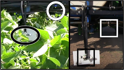 Photos highlighting two sprayer setups, one that applies fungicides above the canopy and one that does so within the canopy and between rows