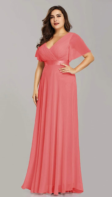 Plus Size Coral Chiffon Bridesmaid Dresses