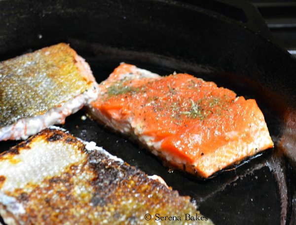 Pan fried Salmon for Salmon Nicosie Salad recipe.
