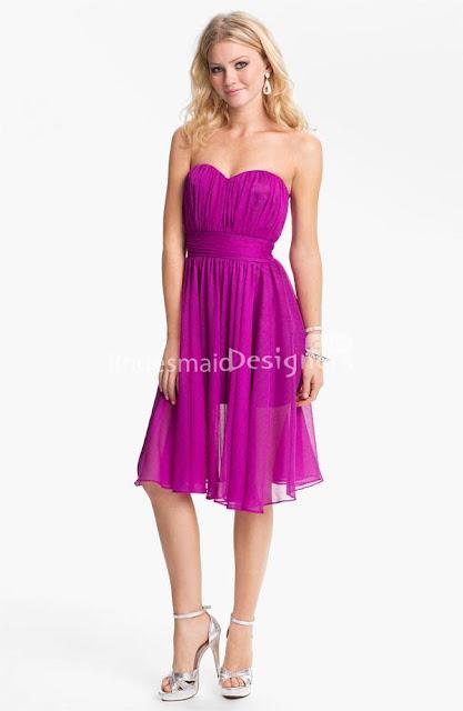 Fuschia Chiffon Sweetheart Strapless Knee Length A-line Bridesmaid Dress