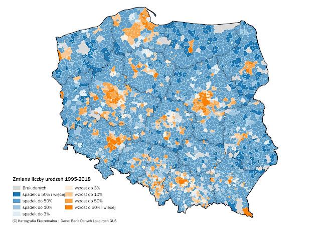 Zmiany przyrostu naturalnego w Polsce