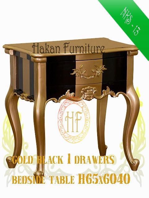 Gold black 1 drawers bedside table H65x6040