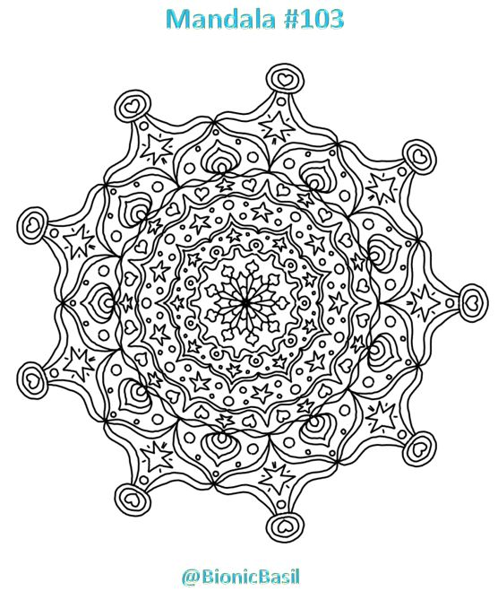 Mandalas on Monday ©BionicBasil® Colouring With Cats #103 Downloadable Image