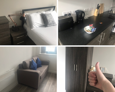 a collage of 4 images depicting a modern style hotel room, kitchenette, sofa and wardrobes