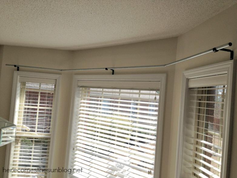 DIY Bay Window Curtain Rod for Less than $10