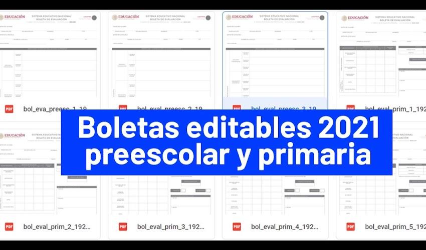 Boletas EDITABLES 2021 directamente en PDF para PREESCOLAR Y PRIMARIA