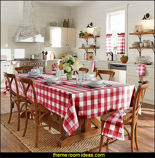 modern farmhouse kitchen Buffalo Check Kitchen country kitchen curtains Buffalo Check Tablecloth