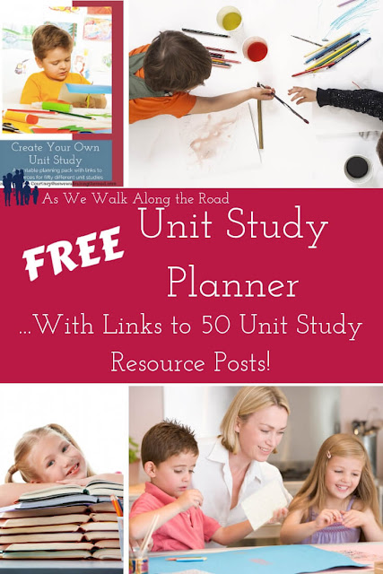 Pick up a free #unitstudy planner with step-by-step instructions and links to fifty unit study resource pages.