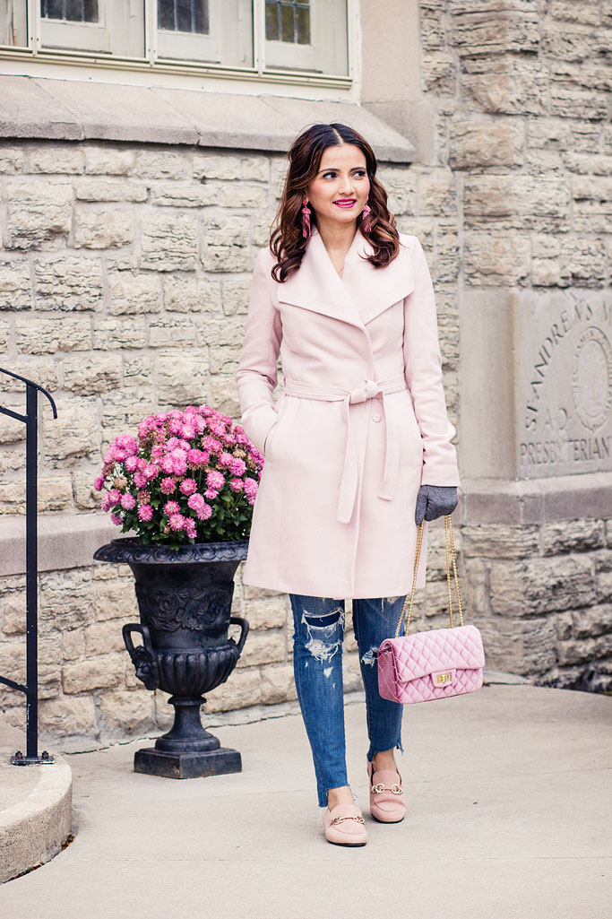 Pale Pink Wrap Coat, Blush Pink Loafers,  Pink Velvet Quilted Bag Blogger Outfit