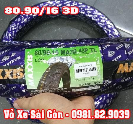 Vỏ xe máy Maxxis 80/90-16 gai kim cương 3D