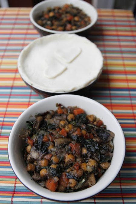 Black Kale and Chickpea Pot Pies