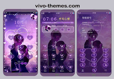 Purple Hearts Theme .itz For Vivo Android