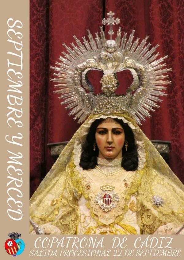 Cartel anunciador de la Procesión de la Virgen de la Merced de Cádiz