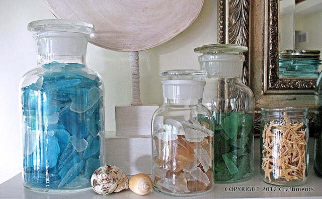 Craftiments.com:  Apothecary Bottles of Sea Glass