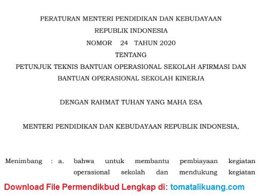 permendikbud nomor 24 tahun 2020; juknis bos afirmasi 2020; juknis bos kinerja 2020; tomatalikuang.com