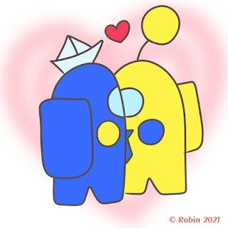 Among Us Icon Aesthetic Blue and Yellow