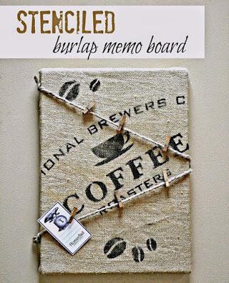 Pinterest pin for stenciled burlap memo board