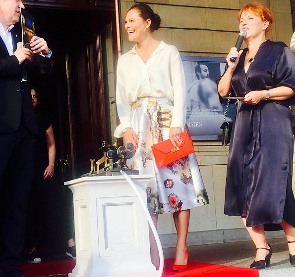 Princess Victoria wore Maxjenny Sicily skirt, Rizzo Stockholm pumps, and carried Stella McCartney Beckett clutch